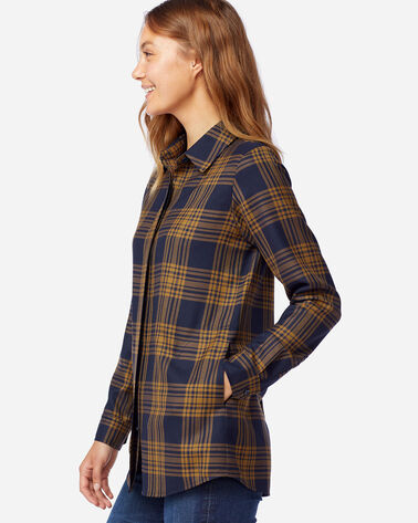 ALTERNATE VIEW OF WOMEN'S CASSANDRA PLAID SHIRT IN NAVY/GOLD MIX TARTAN