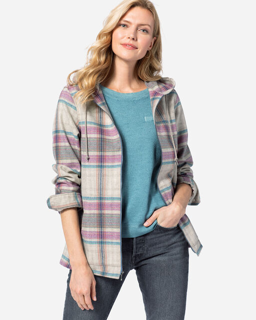 WOMEN'S WOOL ZIP HOODIE, TAN/FUCHSIA PLAID, large