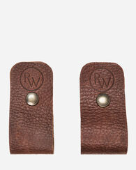 HORIZONTAL CANOE PADDLE LEATHER HANGER, BROWN, large