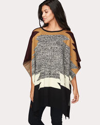 COLOR BLOCK KNIT PONCHO, BROWN/GOLD/BLACK, large