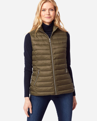 WOMEN'S ZIP-FRONT DOWN VEST IN MILITARY OLIVE