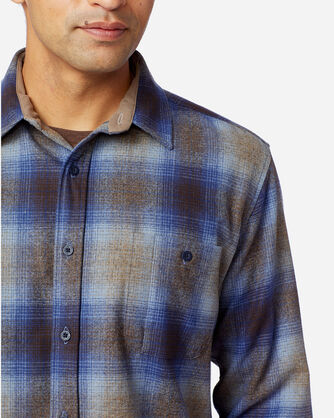 ALTERNATE VIEW OF MEN'S ELBOW-PATCH TRAIL SHIRT IN TAUPE/BROWN/BLUE OMBRE