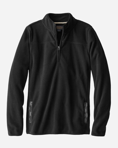 HALF-ZIP FLEECE PULLOVER, BLACK, large