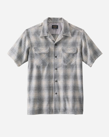 MEN'S SHORT-SLEEVE BOARD SHIRT IN GREY OMBRE PLAID
