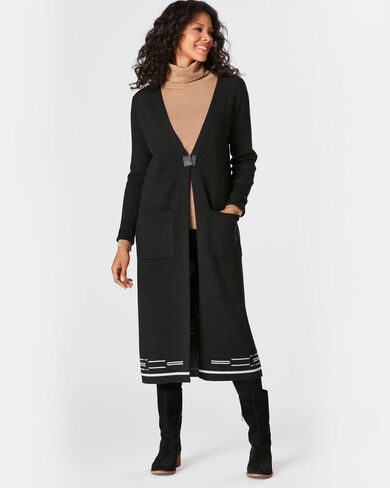 RIBBED SLEEVE PINYON DUSTER