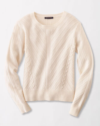 CROPPED TEXTURED CREWNECK SWEATER, IVORY, large
