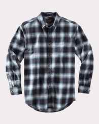 FITTED LISTER FLANNEL SHIRT, GREY OMBRE, large