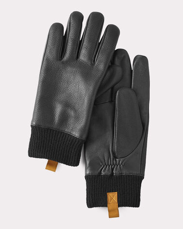 CASUAL LEATHER SMART GLOVES, BLACK, large