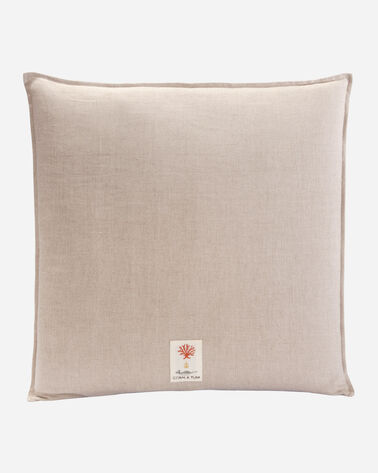 ALTERNATE VIEW OF FEATHER HARMONY BLUE PILLOW IN NATURAL LINEN