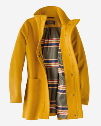 ADDITIONAL VIEW OF LOGAN WATERPROOF STAND-COLLAR COAT IN GOLDENROD