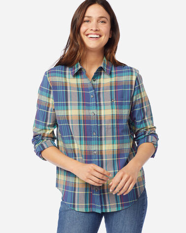 ALTERNATE VIEW OF WOMEN'S LONG-SLEEVE SEASIDE SHIRT IN BLUE/PEAR