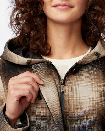 ALTERNATE VIEW OF WOMEN'S STANFORD INSULATED WALKER COAT IN IVORY/BLACK/MOCHA PLAID