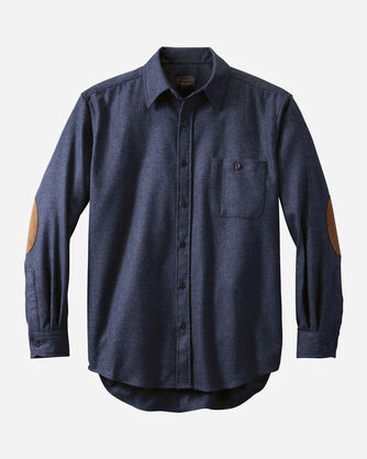 MEN'S FITTED ELBOW-PATCH TRAIL SHIRT, NAVY MIX, large