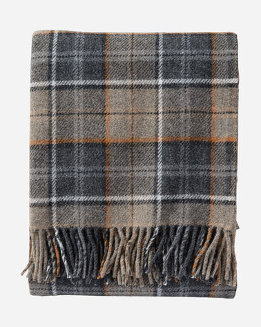 ECO-WISE WOOL FRINGED THROW IN SMOKE PLAID