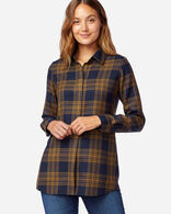 WOMEN'S CASSANDRA PLAID SHIRT IN NAVY/GOLD MIX TARTAN