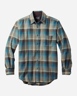MEN'S FITTED LODGE SHIRT IN BROWN/BLUE OMBRE