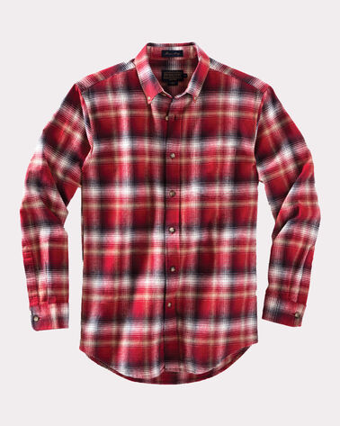 FITTED LISTER FLANNEL SHIRT, RED OMBRE, large