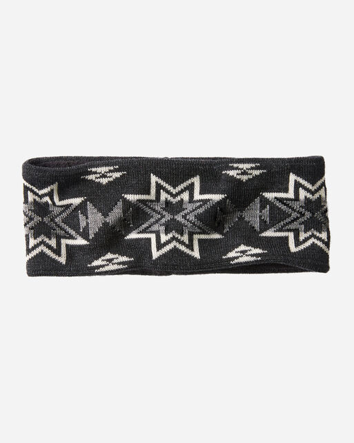 FLEECE LINED HEADBAND IN PLAINS STAR CHARCOAL