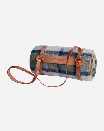 ADDITIONAL VIEW OF MOTOR ROBE WITH LEATHER CARRIER IN MOSIER PLAID