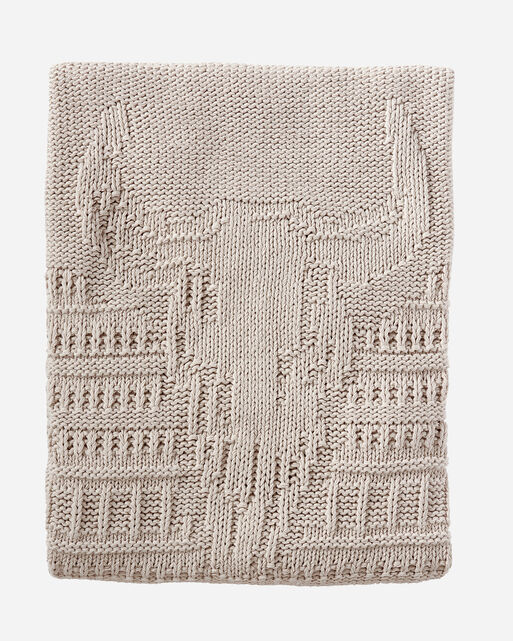 BISON KNIT THROW, SANDSHELL, large