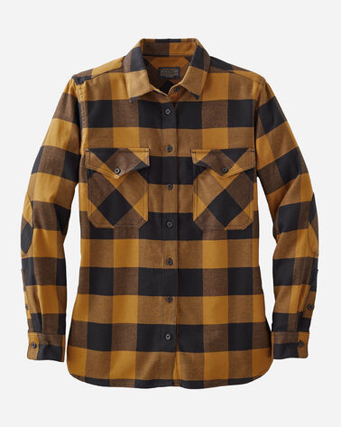 WOMEN'S DOUBLE-BRUSHED FLANNEL ELBOW PATCH SHIRT, BLCK/GOLD BUFFALO CHECK, large