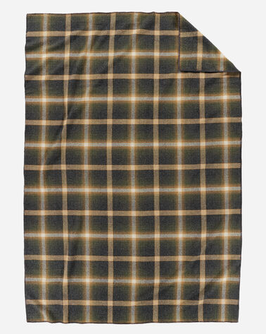 ECO-WISE WOOL PLAID/STRIPE BLANKET IN OXFORD PLAID LAYING FLAT