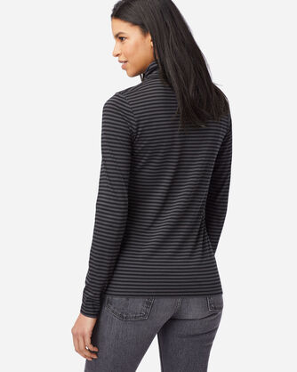 ALTERNATE VIEW OF WOMEN'S STRIPED TURTLENECK JERSEY TEE IN BLACK/CHARCOAL