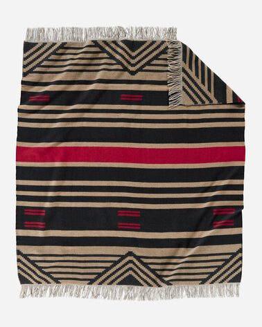 PINYON STRIPE FRINGED THROW IN BLACK