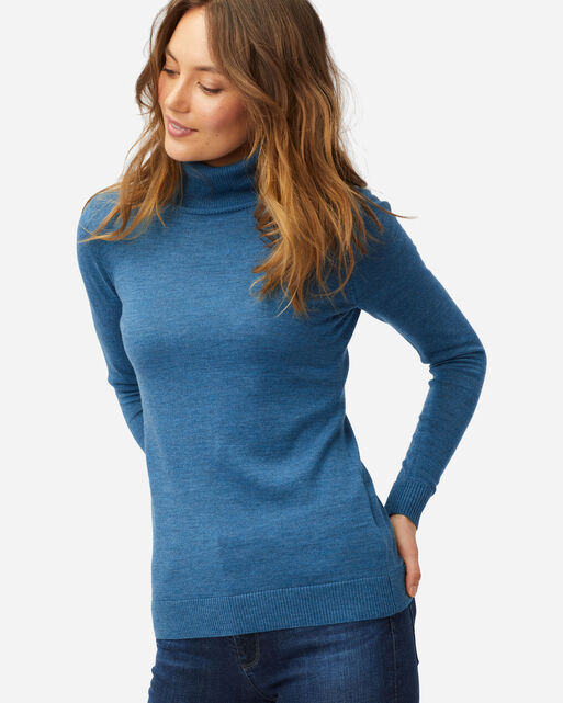 WOMEN'S TIMELESS MERINO TURTLENECK IN DEEP TEAL HEATHER