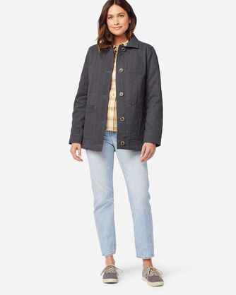 ALTERNATE VIEW OF WOMEN'S FERN QUILTED CANVAS BARN COAT IN SLATE GREY