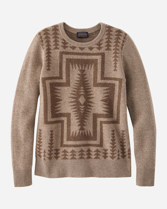 WOMEN'S HARDING LAMBSWOOL CREWNECK IN TAUPE/NUTMEG HEATHER