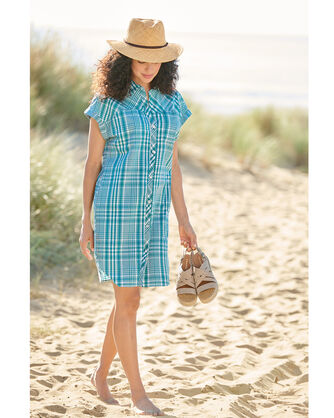 ADDITIONAL VIEW OF SUNNYSIDE TWO POCKET SHIRT DRESS IN TEAL