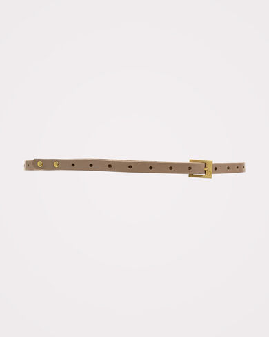 CLAIRE SKINNY BUCKLE BELT, PATENT BLUSH, large