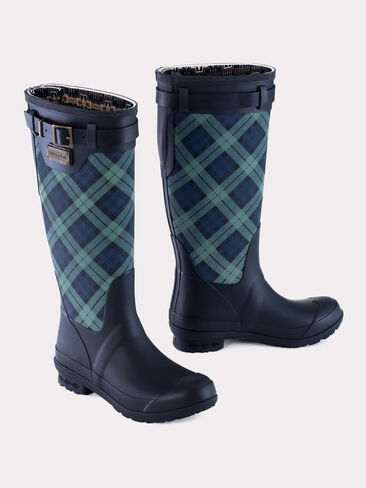 HERITAGE TARTAN TALL BOOTS IN NAVY BLACK WATCH