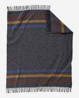 ECO-WISE WOOL FRINGED THROW IN OXFORD STRIPE