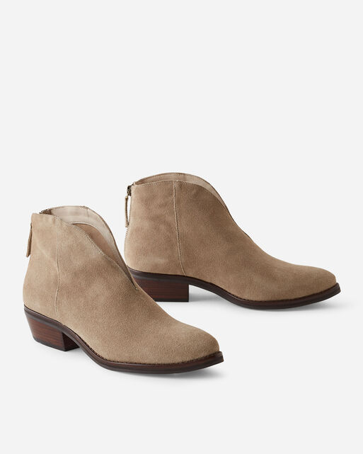BIRD OF FLIGHT PRAIRIE BACK-ZIP BOOTIES IN CAMEL SUEDE