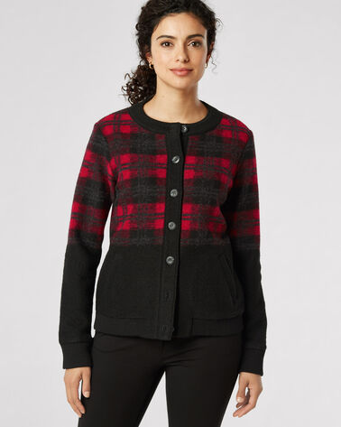BOILED WOOL PLAID BOMBER, RED/BLACK BUFFALO PLAID, large