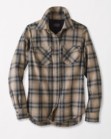 RANCH HAND PLAID SHIRT, GREY/CAMEL OMBRE PLAID, large