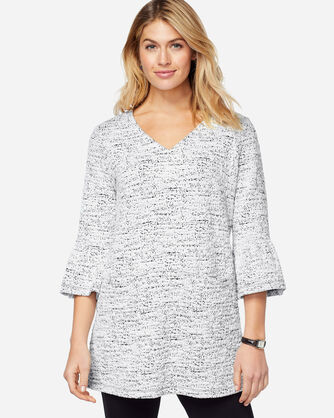 V-NECK RUFFLE SLEEVE TUNIC