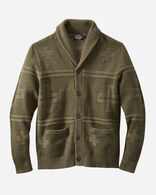 MEN'S CROSS MOTIF CARDIGAN IN OLIVE GREEN