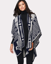 CLASSIC KNIT SHAWL, NAVY/GREY, large