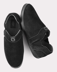 HANZ SUEDE AND FLEECE LINED SLIPPERS, BLACK, large