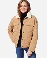 WOMEN'S SIDNEY QUILTED BARN COAT, CHAMOIS, large