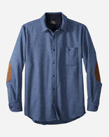 MEN'S ELBOW-PATCH TRAIL SHIRT IN BLUE MIX SOLID