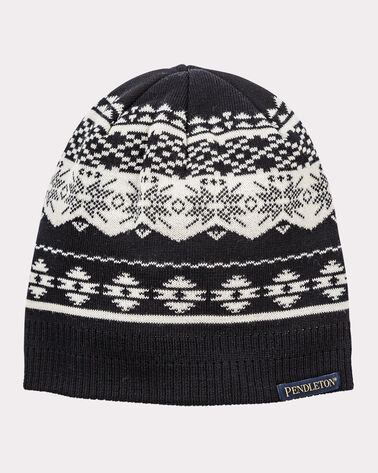 WINTER BEANIE, BLACK/IVORY, large