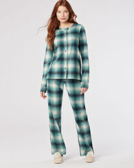 COTTON FLANNEL PAJAMA SET, TURQUOISE OMBRE, large