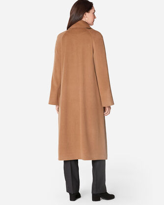 ADDITIONAL VIEW OF LONG REEFER COAT IN CAMEL