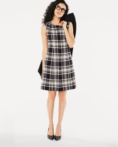 WILLHEM BUTTON FRONT DRESS, BLACK/IVORY PLAID, large