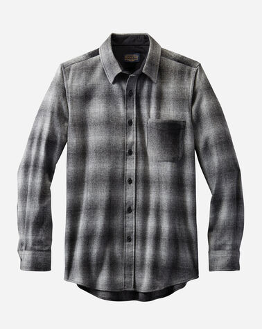 MEN'S FITTED MIXED PLAID LODGE SHIRT in GREY OMBRE