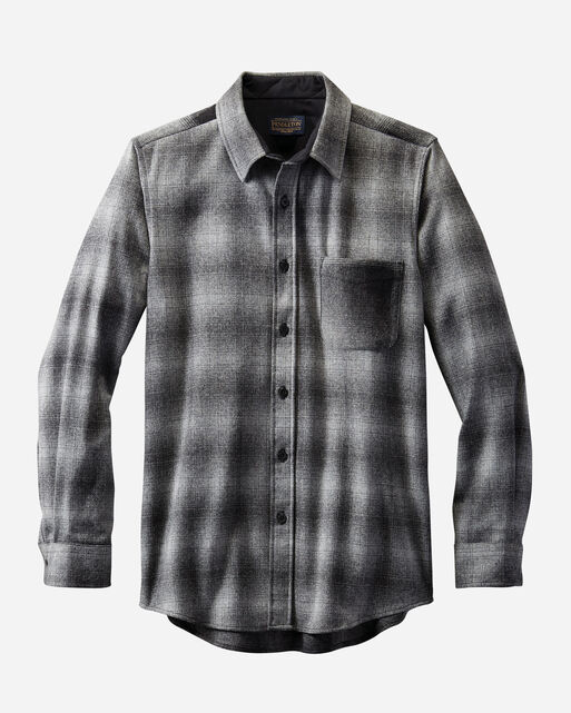 MEN'S FITTED MIXED PLAID LODGE SHIRT, GREY OMBRE, large